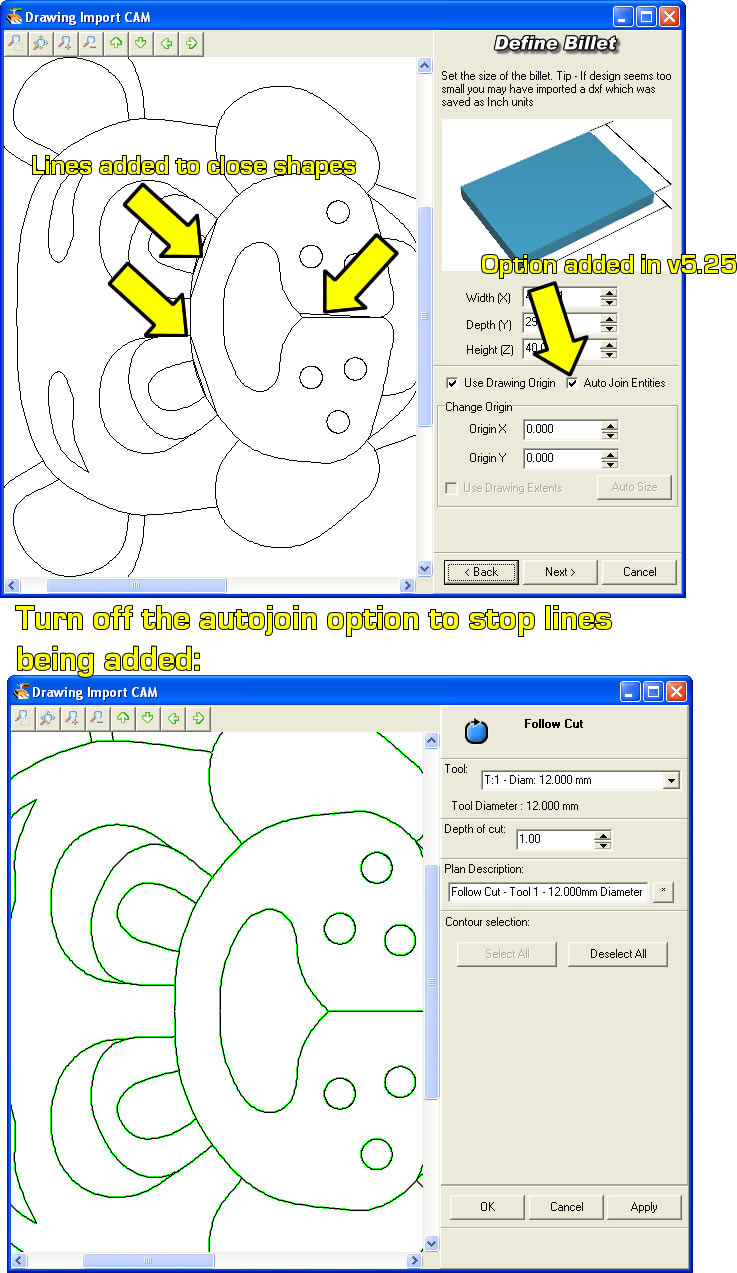 DXF Import creates unwanted lines - Denford Software & Machines